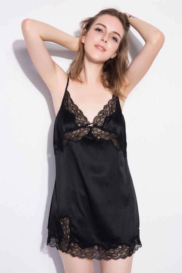 19 Momme Sexy Lace Short Silk Nightgown、Real Silk Life