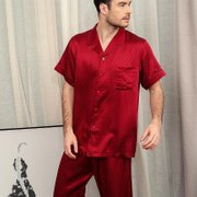 22 Momme High Quality Short Silk Pajamas Set For Men、Real Silk Life