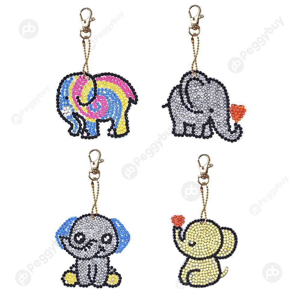 Peggybuy coupon: 4pcs Elephant-DIY Creative Diamond Keychain