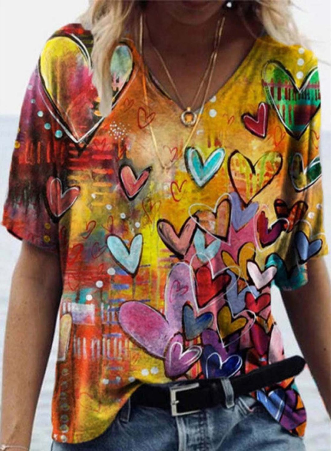 Yellow Women's T-shirts Color Block Abstract Heart-shaped Print Short Sleeve Round Neck Daily T-shirt LC2523413-7