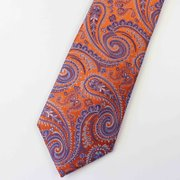 Paisley Print Orange Silk Tie、Real Silk Life