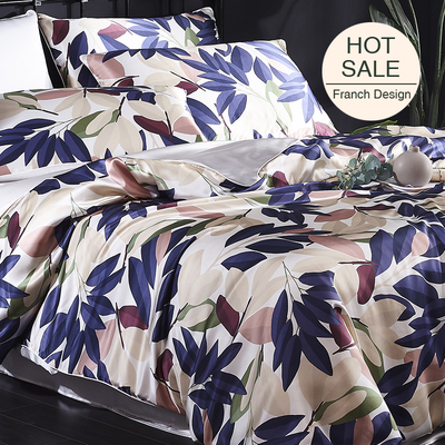 Foliage Printed Silk Duvet Cover Set Bedding Set| 4pcs、RealSilkLife