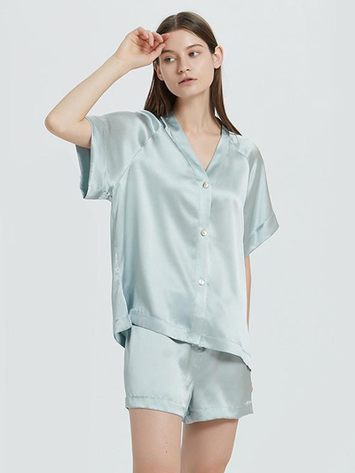19 Momme Blue Lifestyle Short Silk Pajamas Set、Real Silk Life