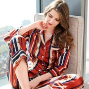 22 Momme Women's Vintage Printed Strip Silk Pajamas Set (Two Colors Selected)、Real Silk Life