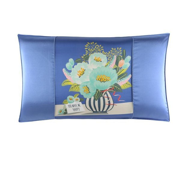 Double-Sided Silk Pillowcase-Sky Blue Printed、REAL SILK LIFE