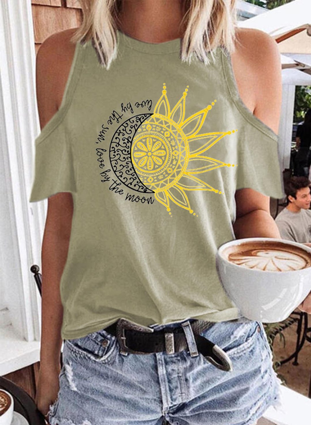 Beige Women's T-shirts Cold Shoulder Sun Moon Print T-shirt LC2527437-15
