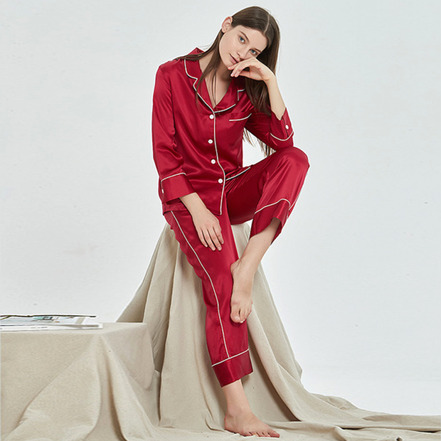 Monogrammed 19 Momme French Design Long Silk Pajamas Set | Multi-Colors Selected、Real Silk Life