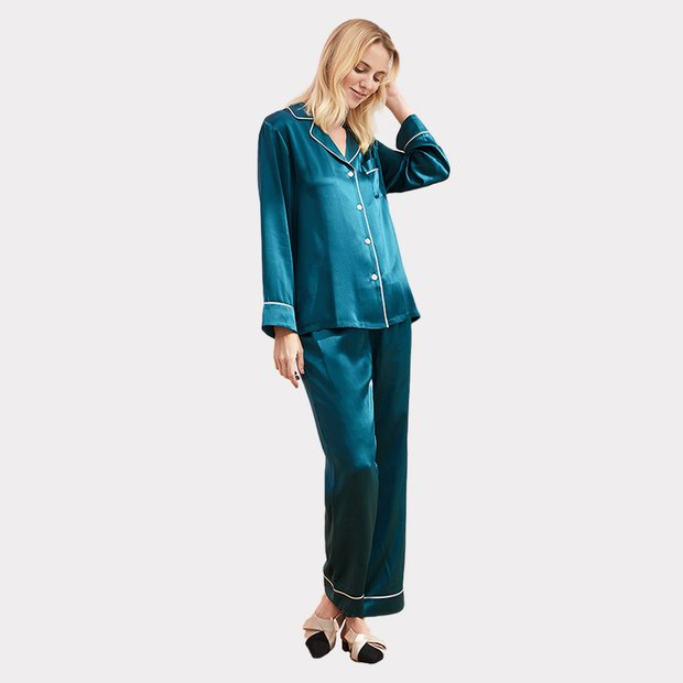 22 Momme High Quality Vintage Classic Long Silk Pajamas Set、Real Silk Life