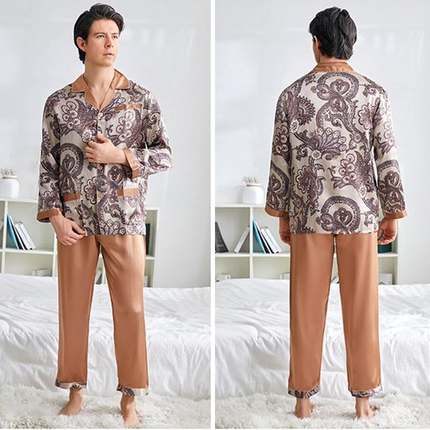 19 Momme Brown Printed Silk Pajams For Men、Real Silk Life