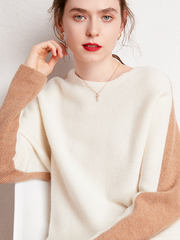 Cashmere Long Sleeves Boat Neckline Suit| Multi-Colors Selected、Real Silk Life