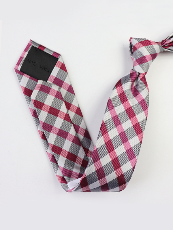 Plaid Strips Wine Silk Tie、Real Silk Life