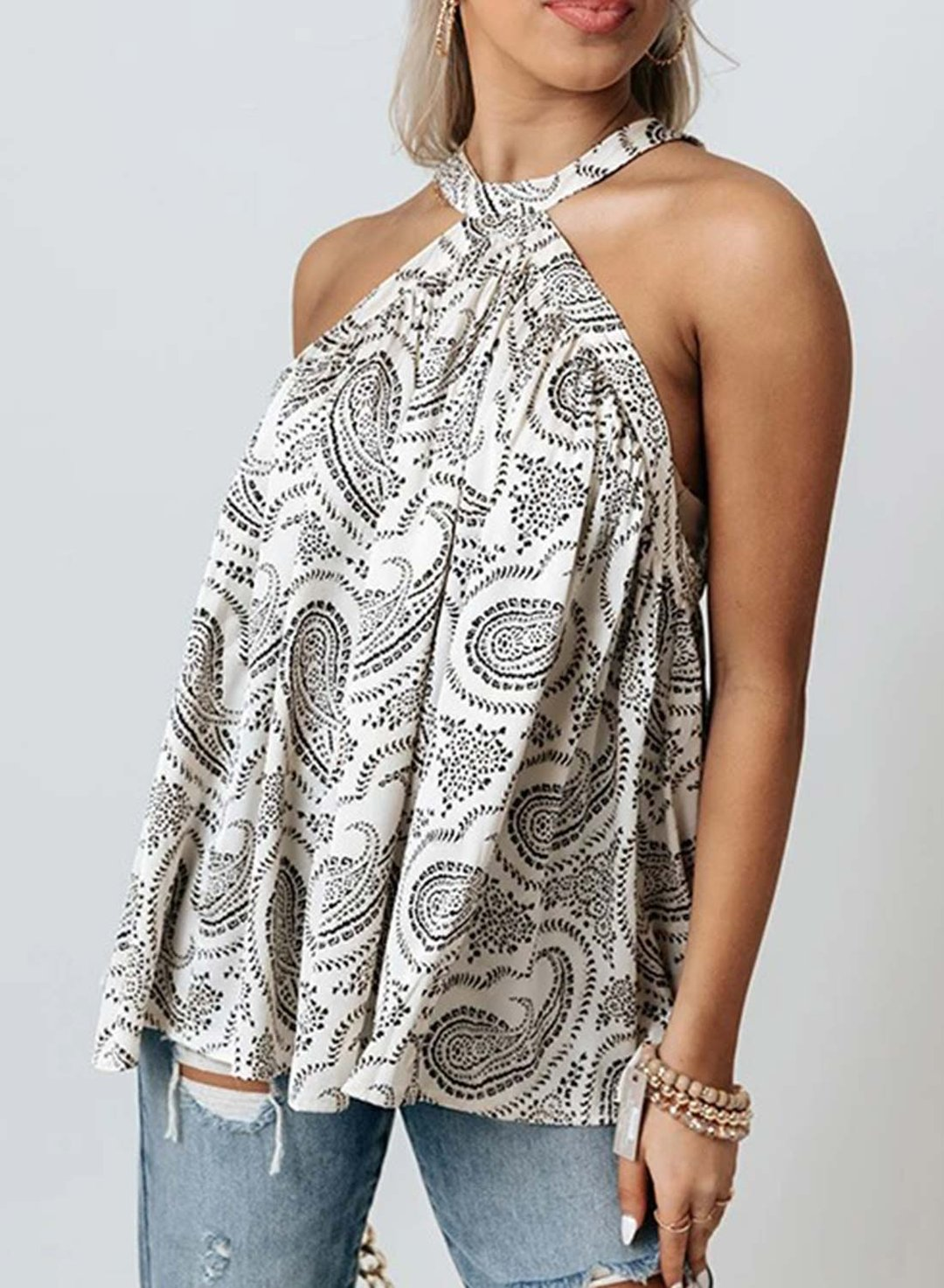 White Women's Tank Tops Tribal Halter Cold Shoulder Tank Tops LC2562136-1