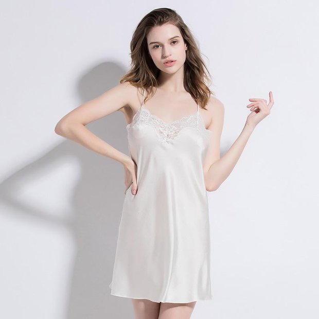 19 Momme White Lace Mulberry Silk Nightgown、Real Silk Life