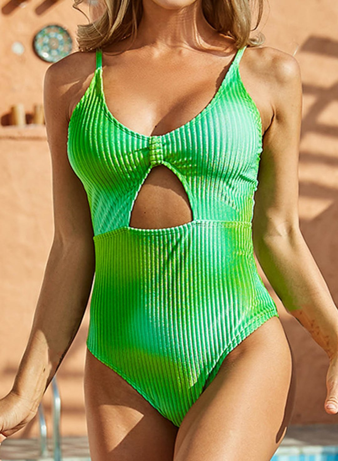 Green Women's One-Piece Swimsuits Color Block Tiedye Sleeveless Spaghetti Sexy One-Piece Swimsuit LC44489-9