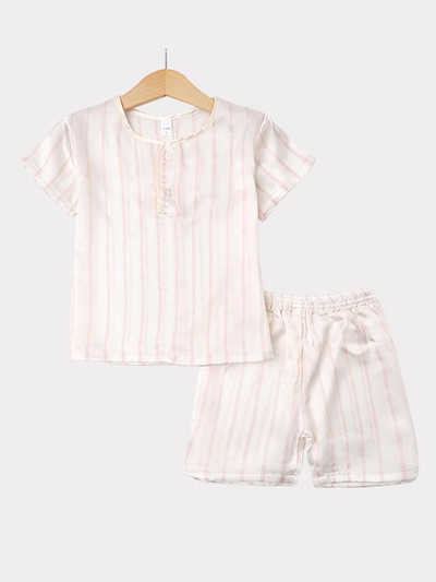 Strip Printed Silk Pajamas Set For Kids、REAL SILK LIFE