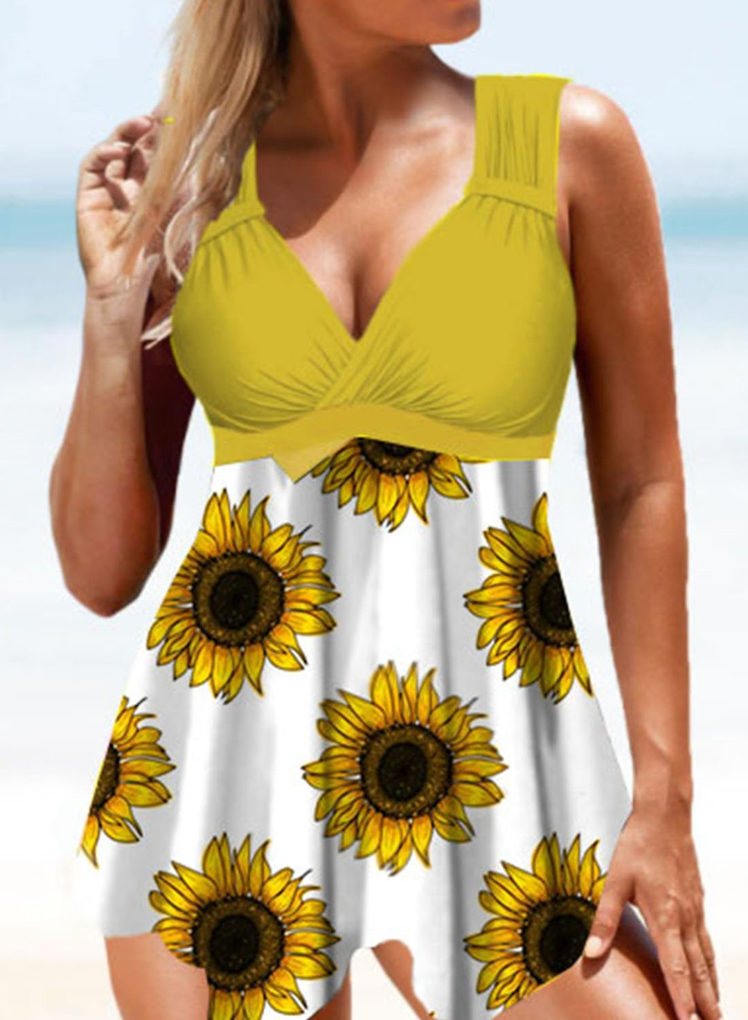 Yellow Women's One-piece Swimsuits Multicolor Sunflower V Neck Padded Casual One-piece Swimsuits LC441083-7