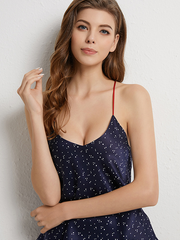 Lovely White Spot Print Silk Camisole Set For Women、Real Silk Life