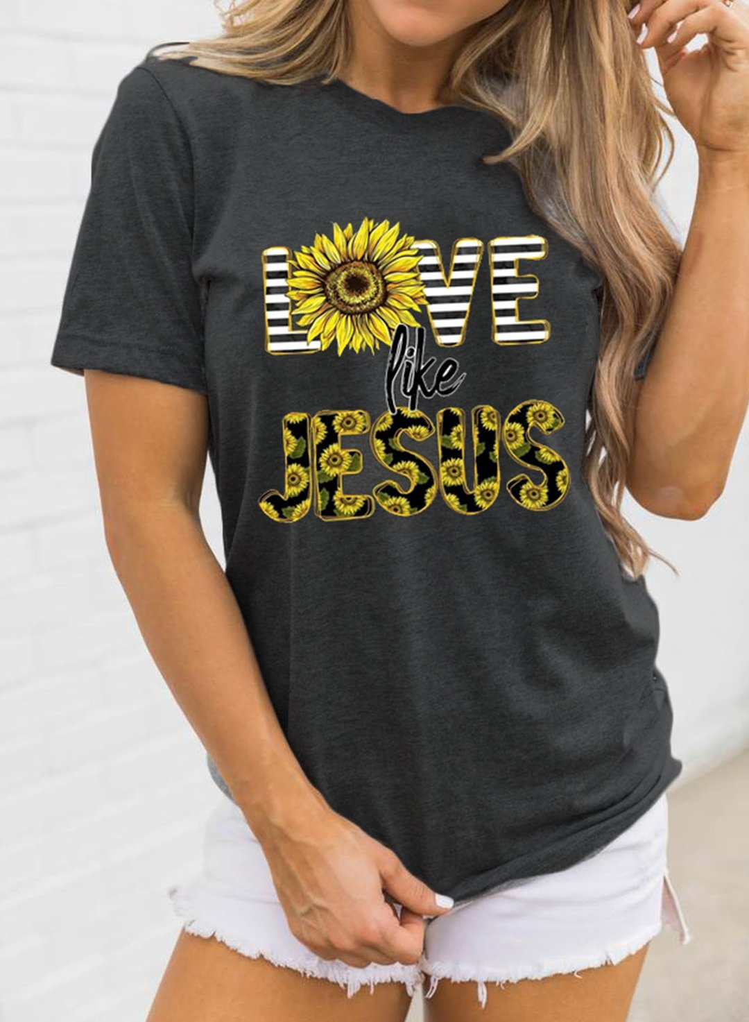 Gray Women's T-shirts Sunflower Letter Print Short Sleeve Round Neck Daily T-shirt LC2525428-11