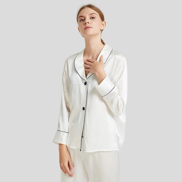 22 Momme Casual Contrast Trim Silk Pajamas Set、Real Silk Life