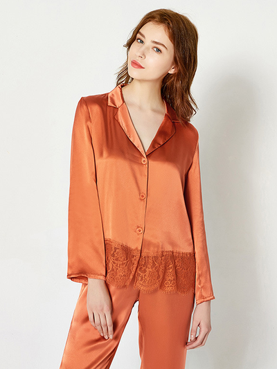 19 Momme Orange Lace Silk Pajamas Set、Real Silk Life