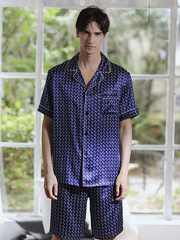 High Quality Navy Blue Silk Pajamas Set For Men、Real Silk Life