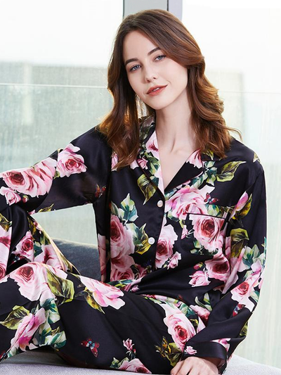 19 Momme Black Flower Printed Silk Pajamas、Real Silk Life