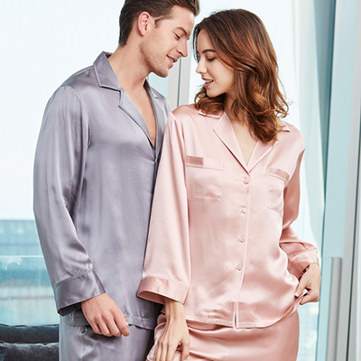 22 Momme Romantic Long-sleeved Silk Couple Pajamas Sets、Real Silk Life