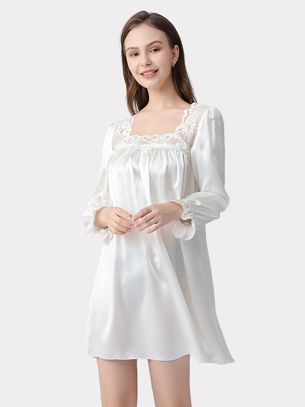 19 Momme Silk Square Neck Vintage Nightgown、Real Silk Life