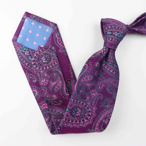 Paisley Purple Silk Tie、Real Silk Life
