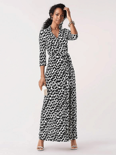 Women Black White Patterns Long Silk Dress、Real Silk Life