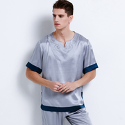 22 Momme High Quality Short Pajamas Set For Men、Real Silk Life