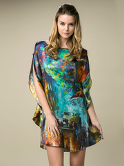 19 Momme Impressionism Printed Loose Silk Nightgown、Real Silk Life