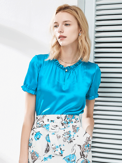 Sky Blue Silk Blouse、Real Silk Life