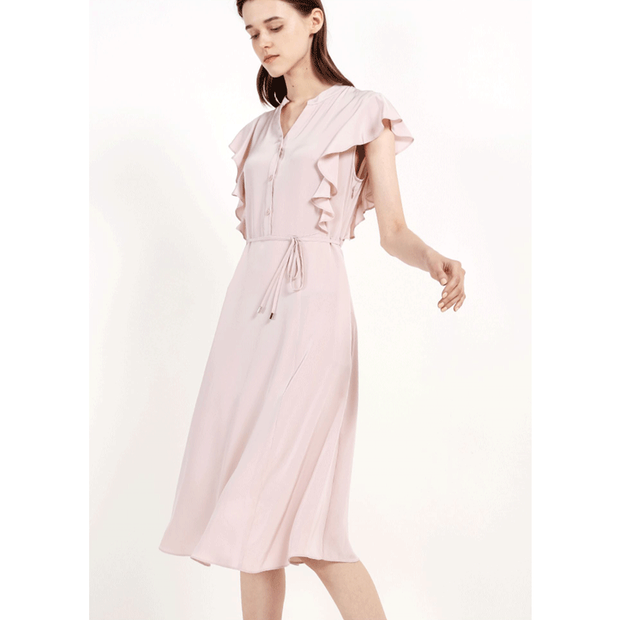 Elegant Button Chest Pink Silk Dress、Real Silk Life
