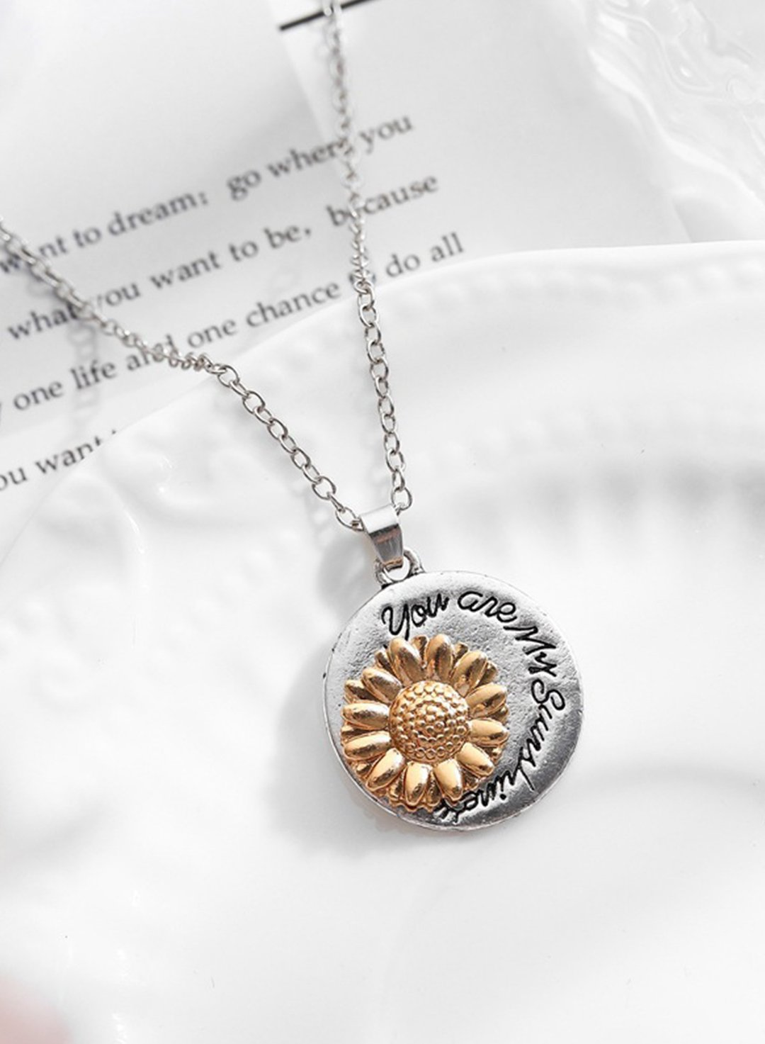 Silver Women's Necklaces Sunflower Alloy Necklaces LC011187-13