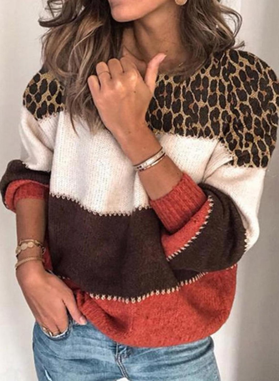 Red Women's Sweaters Round Neck Long Sleeve Leopard Color Block Casual Sweaters LC2721042-3