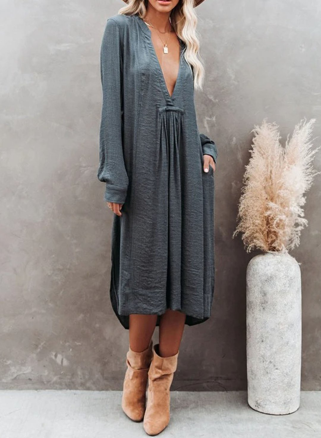Gray Women's Midi Dress Solid Shift Cut And Sew Long Sleeve V Neck Summer Daily Casual Midi Dress LC614457-11