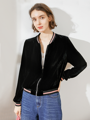 Classic Silk Velvet Short Jacket With Zipper For Women、Real Silk Life