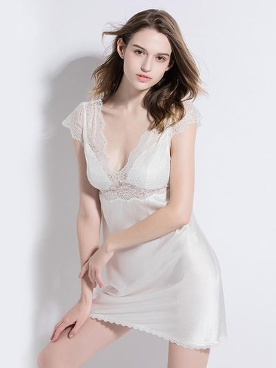 19 Momme Chic White Lace Silk Nightgown、Real Silk Life