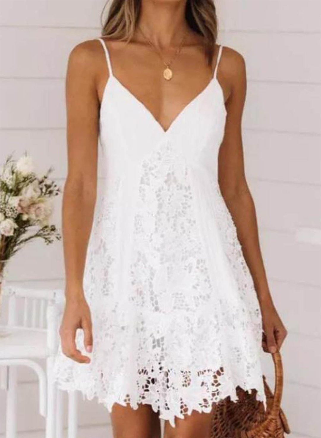 White Women's Mini Dress Solid Lace A-line Sleeveless V Neck Summer Daily Sexy Mini Dress LC225847-1