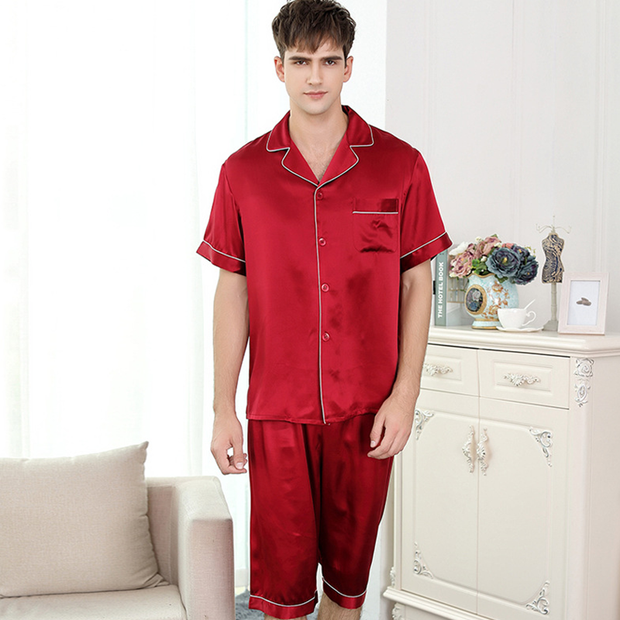 19 Momme Unique Short-sleeved Silk Couple Pajamas Sets、Real Silk Life