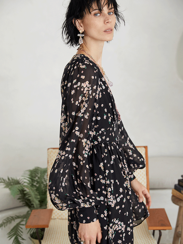 Cute Puff Sleeves Silk Dress、Real Silk Life