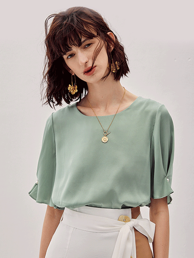 Jade Flare Sleeve Silk Blouse、Real Silk Life