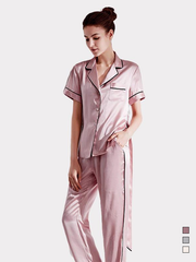 22 Momme Franch Design Silk Pajamas Set With Short Sleeves  | Three Colors Selected、Real Silk Life