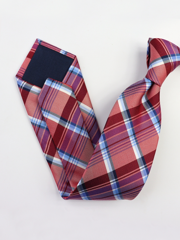 Plaid Strips Pink Silk Tie、Real Silk Life