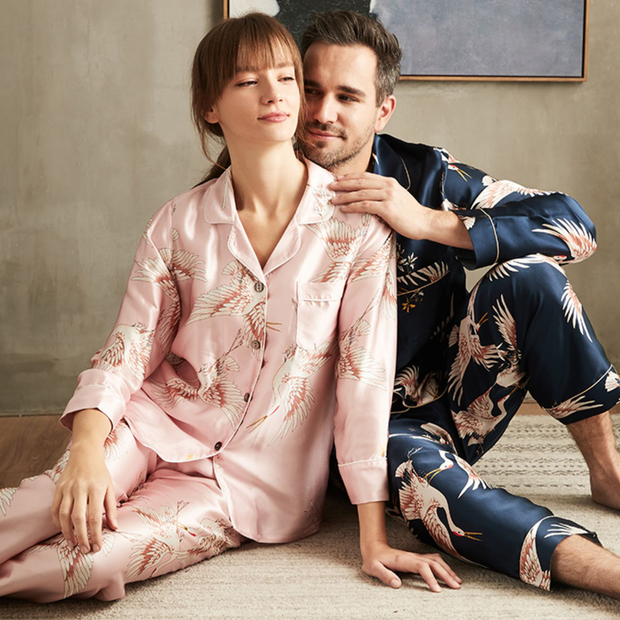 22 Momme Luxury Printed Silk Long Pajamas Set For Couple、REAL SILK LIFE