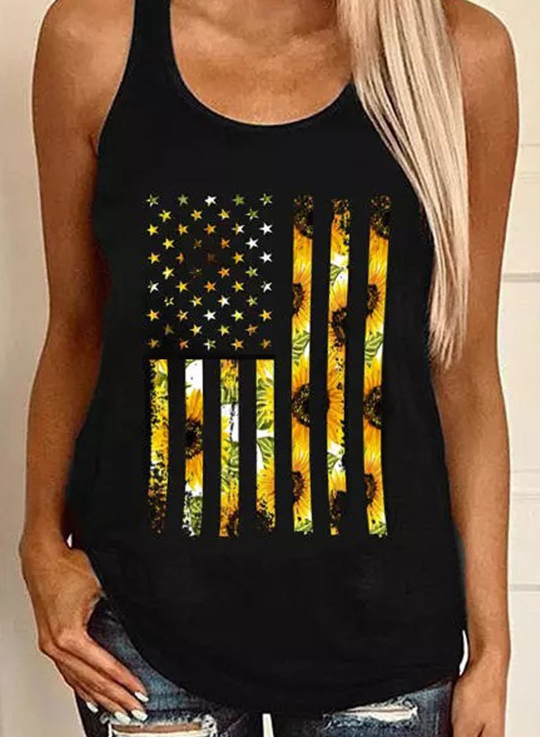 Black Women's Tank Tops Flag Floral Tank Tops LC2561796-2