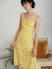 Sleeveless Yellow Daisy Flora Scattered Silk Dress、Real Silk Life