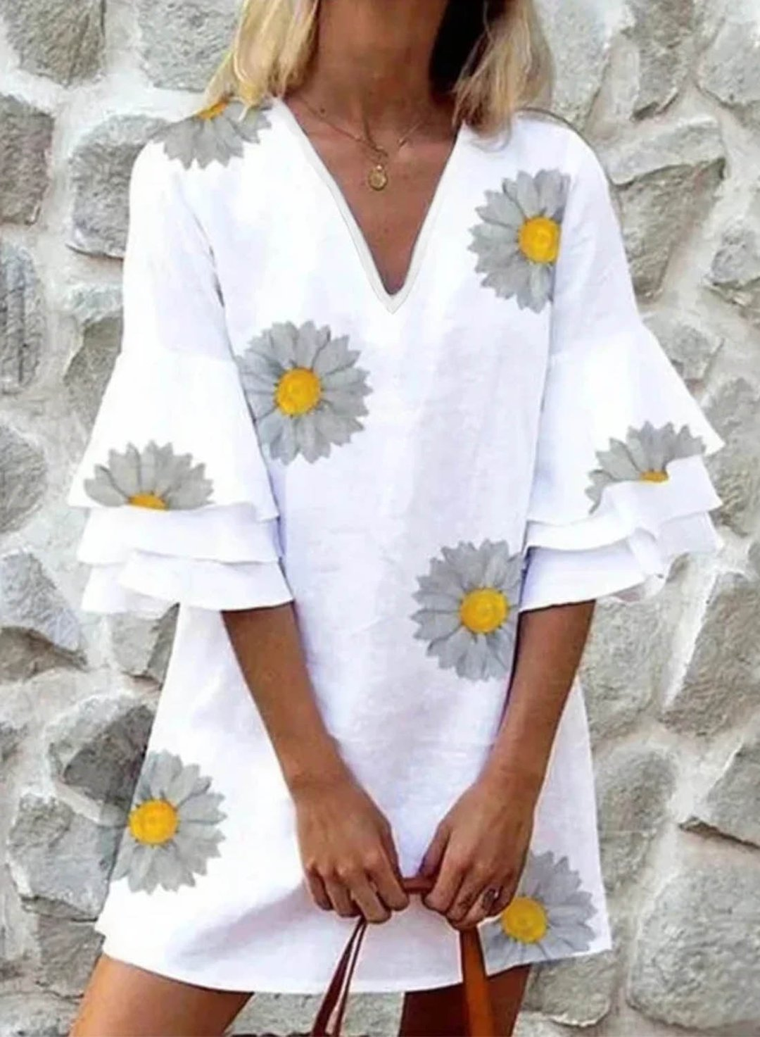 White Women's Mini Dresses Solid Sun-Flower 3/4 Sleeve V Neck Ruffle Casual Mini Dress LC224940-1