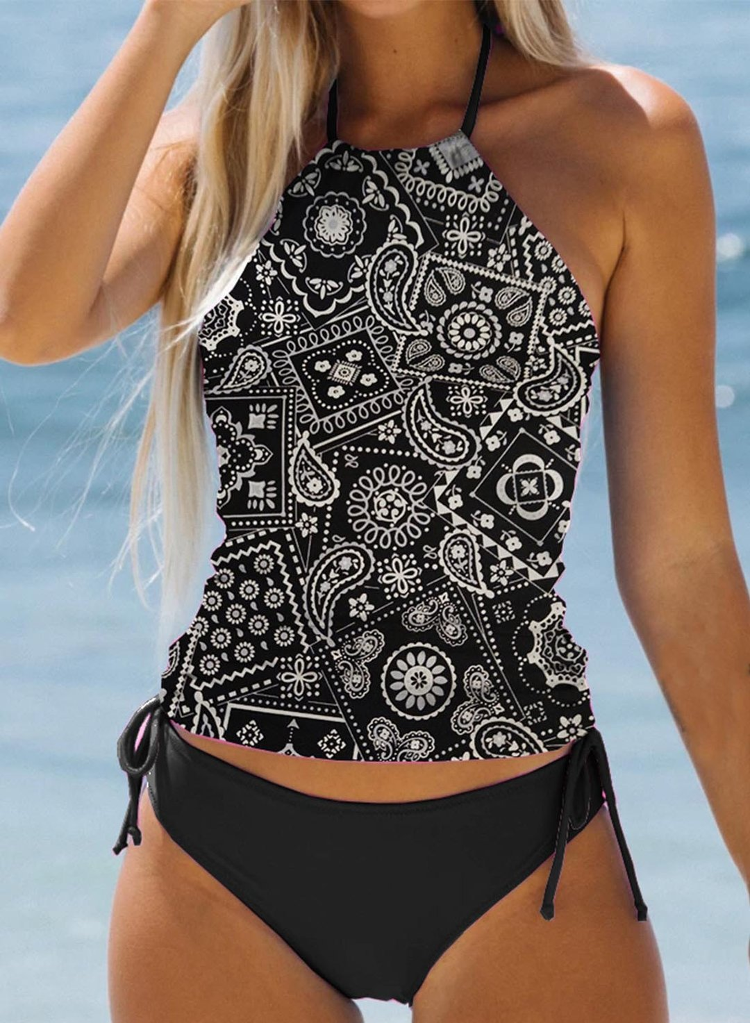 Black Women's Tankinis Tribal Drawstring Backless Knot Tankini LC414174-2